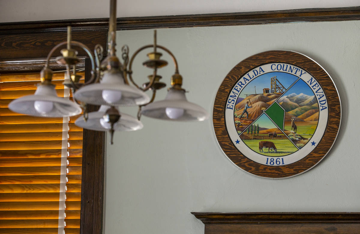 An Esmeralda County seal hangs within the courtroom at the courthouse on Tuesday, August 11, 20 ...