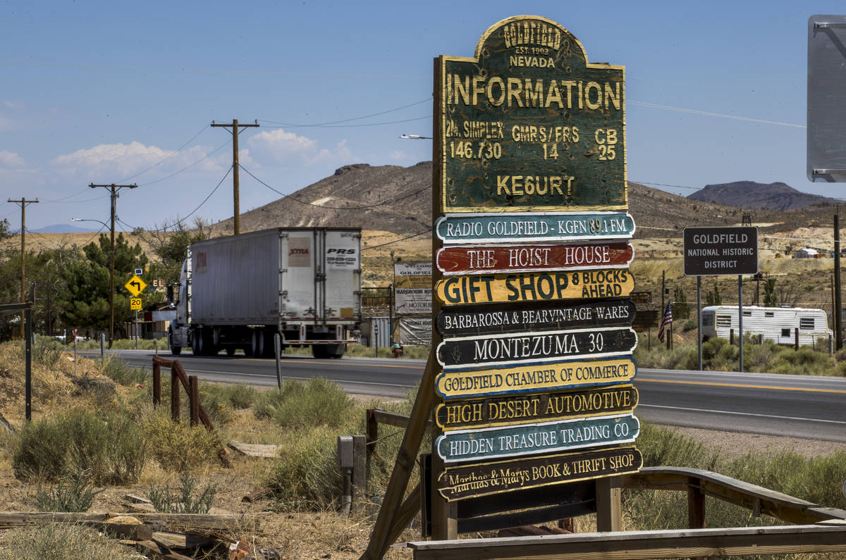 A semi truck makes its way into Goldfield traveling north on I-95 and apart of Esmeralda County ...