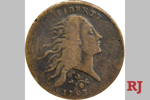 This 1793 Strawberry Leaf cent sold for $660,000 at an auction at Bellagio on Aug. 6, 2020. (Co ...