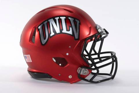 UNLV football helmet for the 2016 season on April 21, 2015. (R. Marsh Starks/UNLV Photo Services)