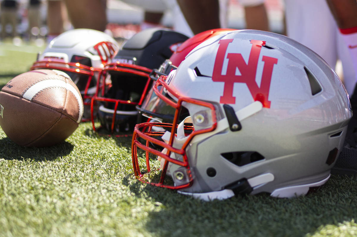 A unique helmet to be worn the opening game of the season is photographed during the UNLV footb ...