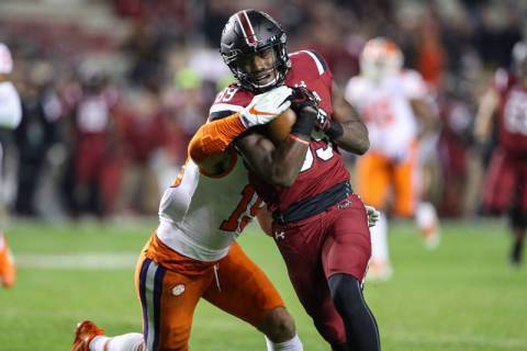 Clemson Tigers safety Tanner Muse (19) tries to hang onto South Carolina Gamecocks wide receive ...