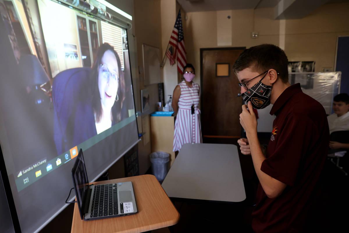 Ninth grader Devon Politzer introduces himself to English literature teacher Sandy McCluney the ...