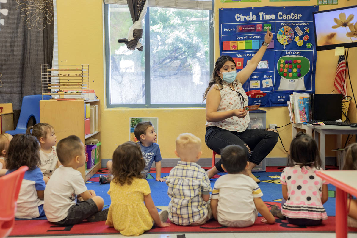 Lead Teacher for the 2's classroom, teaches goes over the days of the week during the fi ...