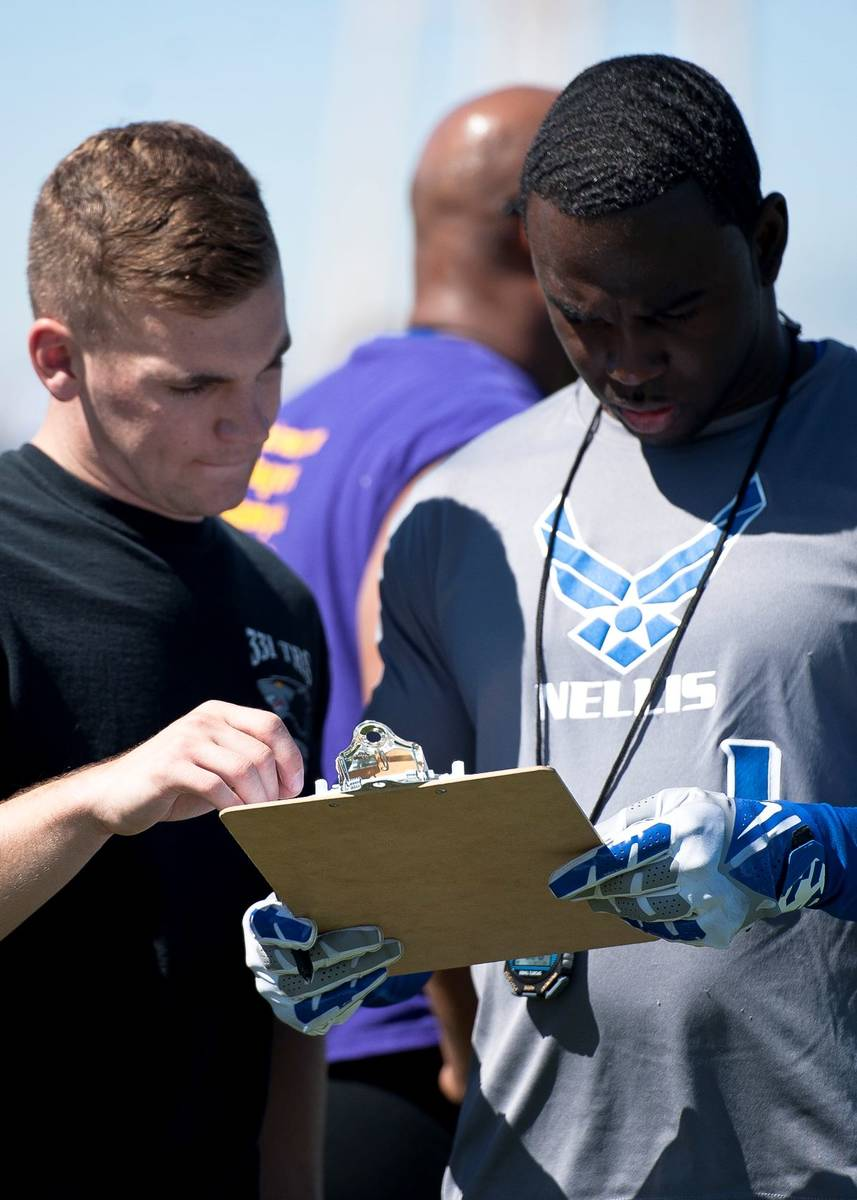 Zac Crawford, (left) 99th Logistics Readiness Squadron, gives his 40-yard dash time to Terrence ...