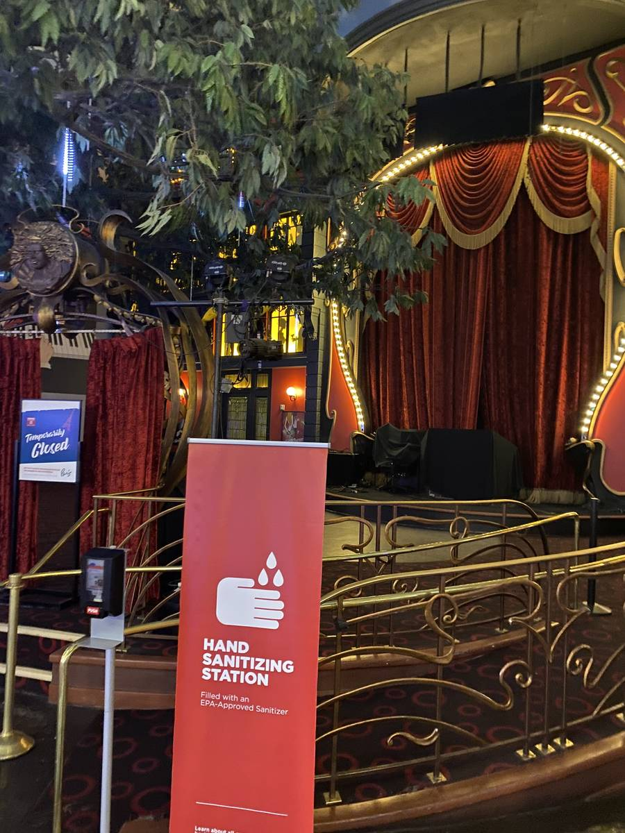 A look at the closed Le Cabaret at Paris Las Vegas on Saturday, Aug. 9, 2020. (John Katsilomete ...
