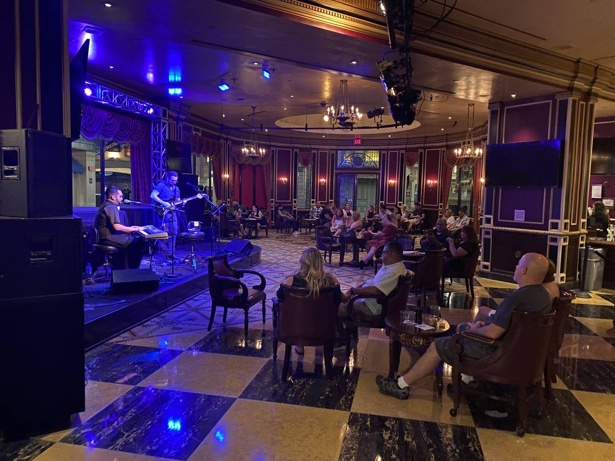 A look at the seating at Napoleon's at Paris Las Vegas on Saturday, Aug. 9, 2020. (John Katsilo ...