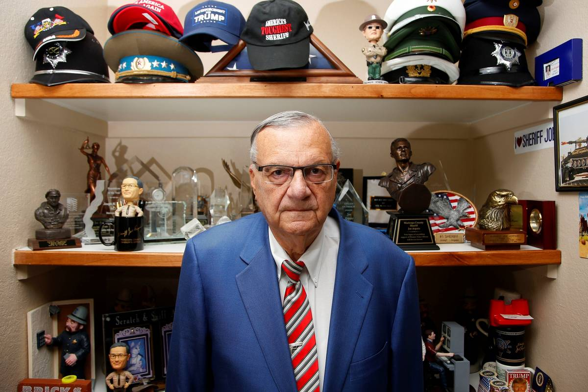 Former Maricopa County Sheriff Joe Arpaio, poses for a photo as he is running for the position ...
