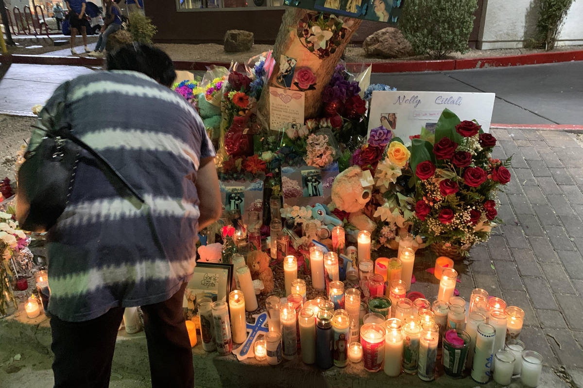 Las Vegas police estimate 200 people donned blue shirts Friday night and mourned Nelly Amaya-Ra ...