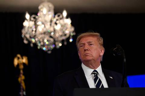 President Donald Trump speaks at Trump National Golf Club Bedminster in Bedminster, N.J., Frida ...