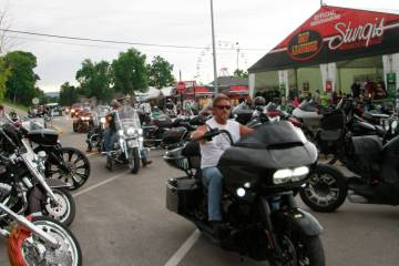Bikers ride through downtown Sturgis, S.D., on Friday, Aug. 7, 2020. Organizers of the Sturgis ...