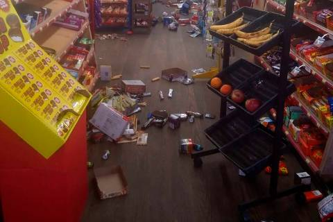 Various items litter the floor of the 4 Brothers Store in Sparta, N.C. after an earthquake shoo ...