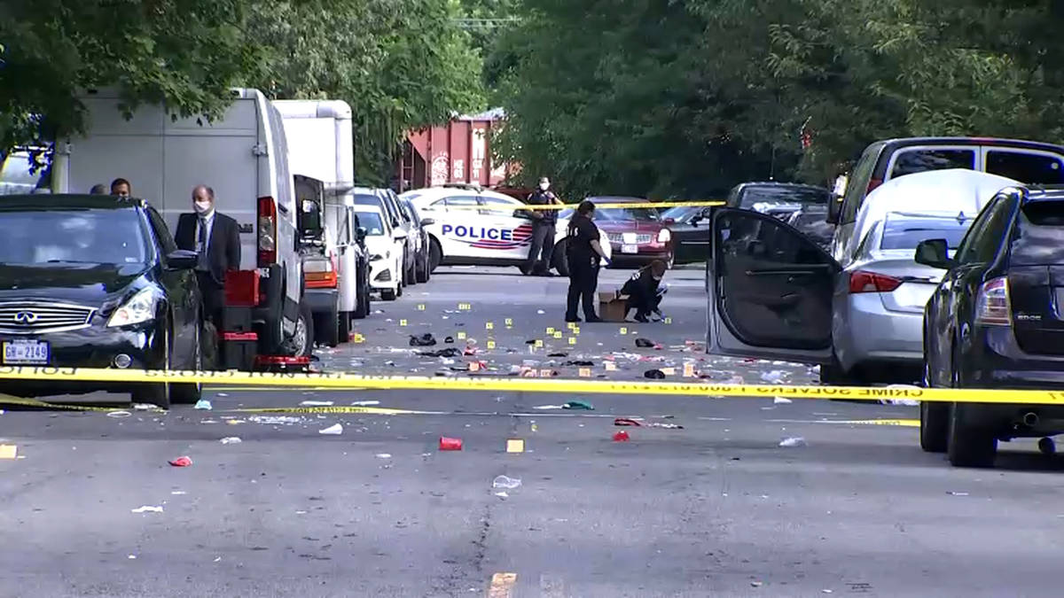 In this image from video provided by NBC4 Washington, law enforcement work the scene of a shoot ...