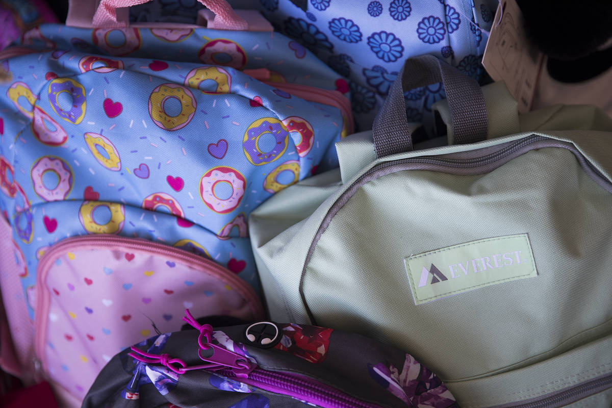 Backpacks at a back-to-school drive at Peggy's Attic in Las Vegas, Sunday, Aug. 9, 2020. ...