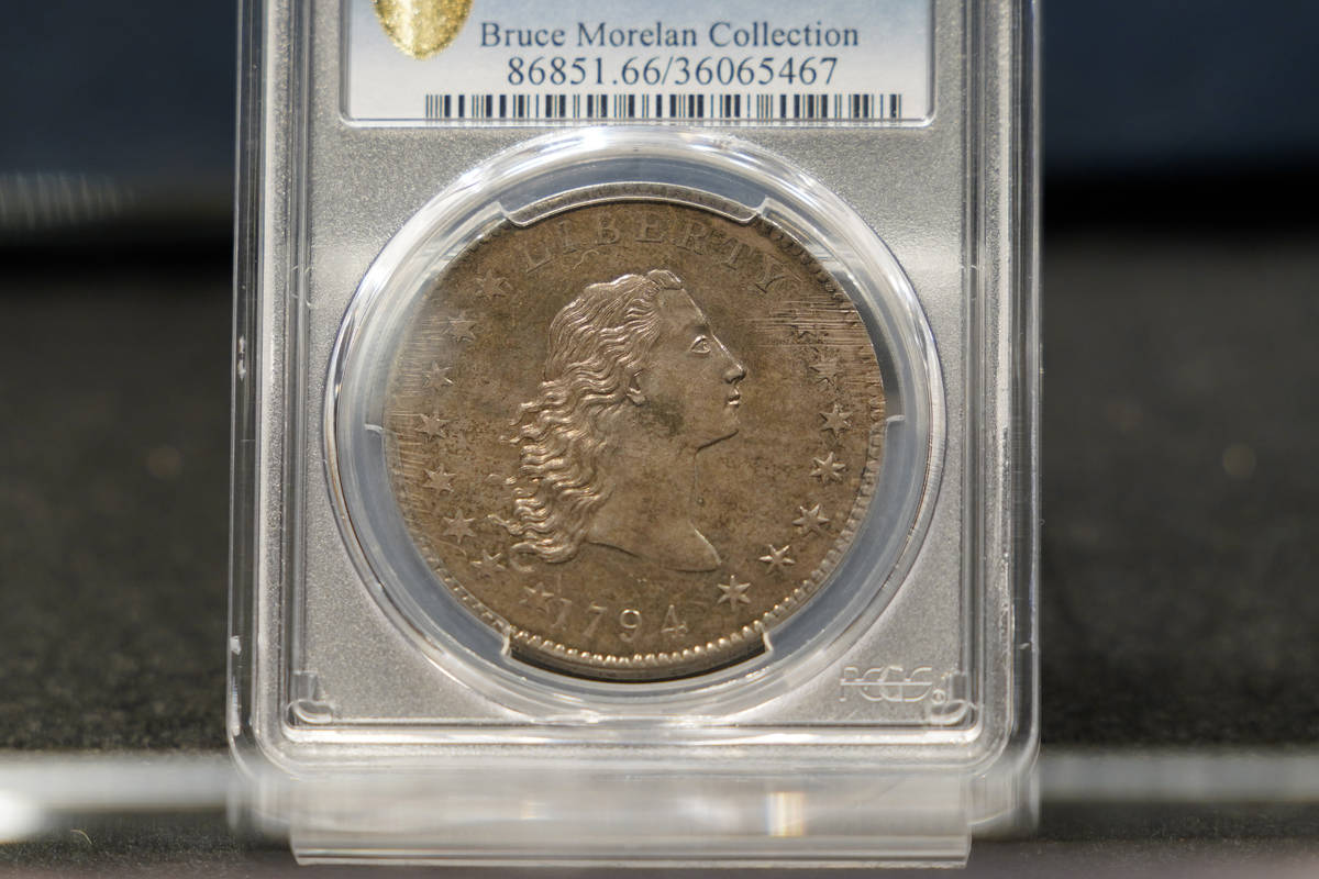 A rare 1794 U.S. silver dollar, said to be among the first ever minted, is on display, Thursday ...