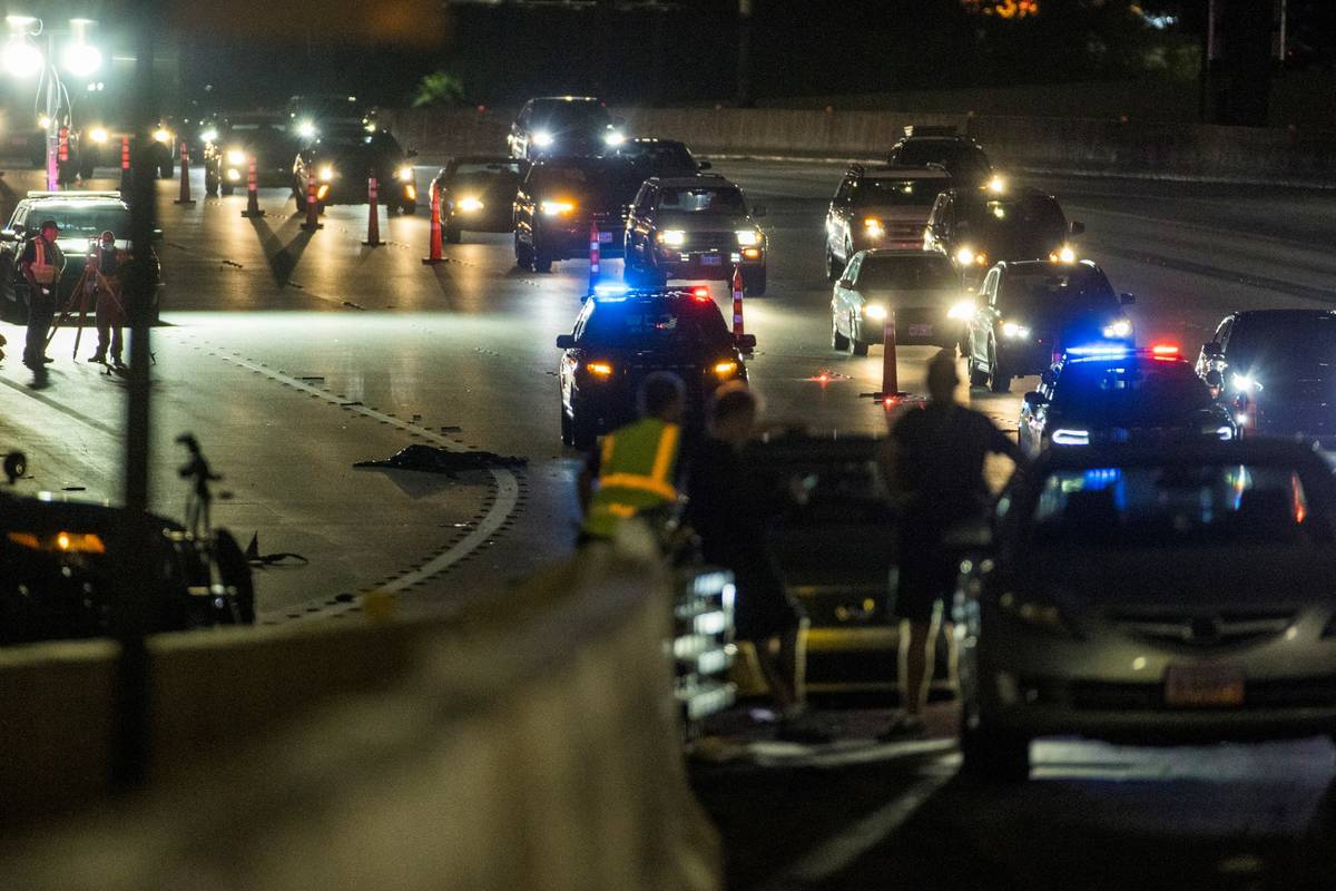 Nevada Highway Patrol and Las Vegas Police work a vehicle versus pedestrian fatal on northbound ...