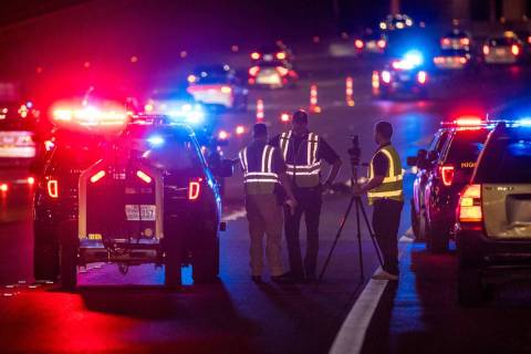 Nevada Highway Patrol and Las Vegas police investigate after a pedestrian was struck by a vehic ...