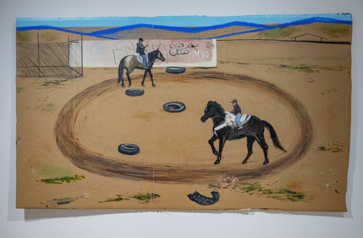 "Ramiro Gomez's ""Los Jinetes"" (East Bonanza Rd & North Nellis Blvd), is featured in the exhibit ..."