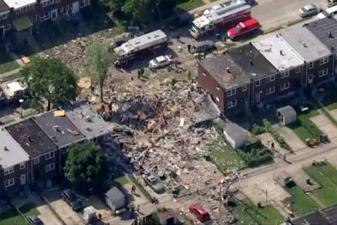 This photo provided by WJLA-TV shows the scene of an explosion in Baltimore on Monday, Aug. 10, ...