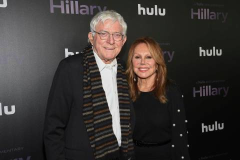 """Phil Donahue, left, and wife Marlo Thomas attend the premiere of the Hulu documentary """"Hil ..."""