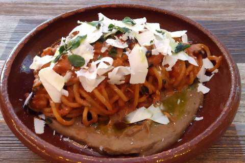 Esther's Kitchen's Pasta alla Norma, bucatini with eggplant, tomato and ricotta salata, fried o ...