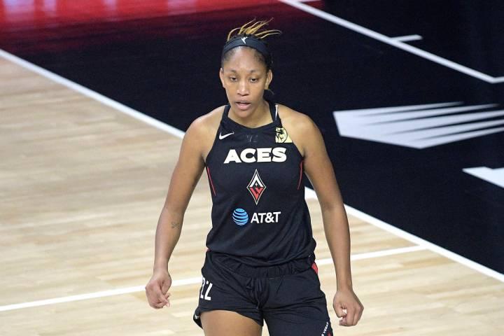 Las Vegas Aces forward A'ja Wilson is shown Sunday, July 26, 2020, in Bradenton, Fla. (AP Photo ...