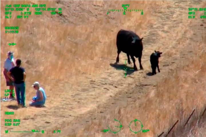 This photo from helicopter video posted by the California Highway Patrol shows part of a confro ...