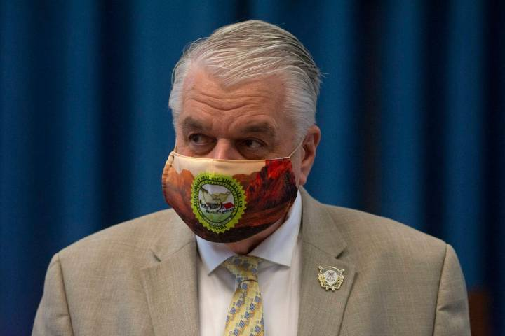 This Aug. 3, 2020, file photo shows Nevada Gov. Steve Sisolak during a press conference in the ...