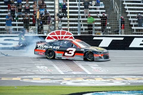 Austin Dillon heads to Victory Lane after winning a NASCAR Cup Series auto race at Texas Motor ...