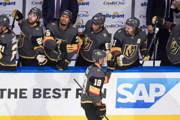 Vegas Golden Knights' Reilly Smith (19) is congratulated for a goal against the Chicago Blackha ...