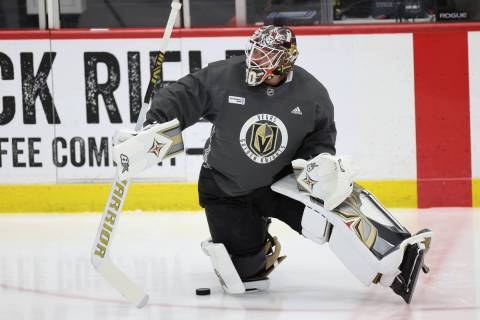 Vegas Golden Knights goaltender Robin Lehner (90) stretches during a team practice at City Nati ...