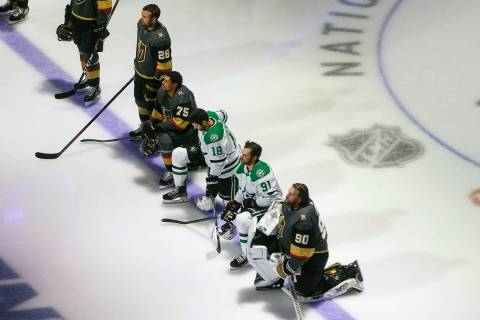 In this Aug. 3, 2020, file photo, Dallas Stars' Jason Dickinson (18), Tyler Seguin (91) and Veg ...