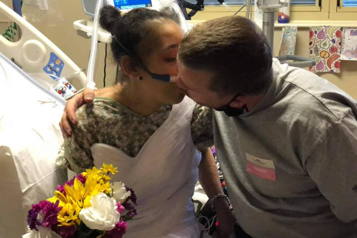 Daniel Anzalone and Alysia Mathis got married at Southern Hills Hospital on Aug. 5, 2020. An ho ...