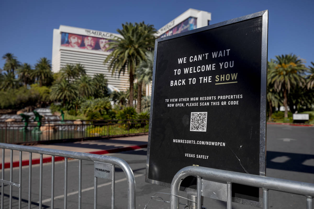 A sign blocks the entrance of the Mirage along the Las Vegas Strip on Wednesday, Aug. 12, 2020. ...