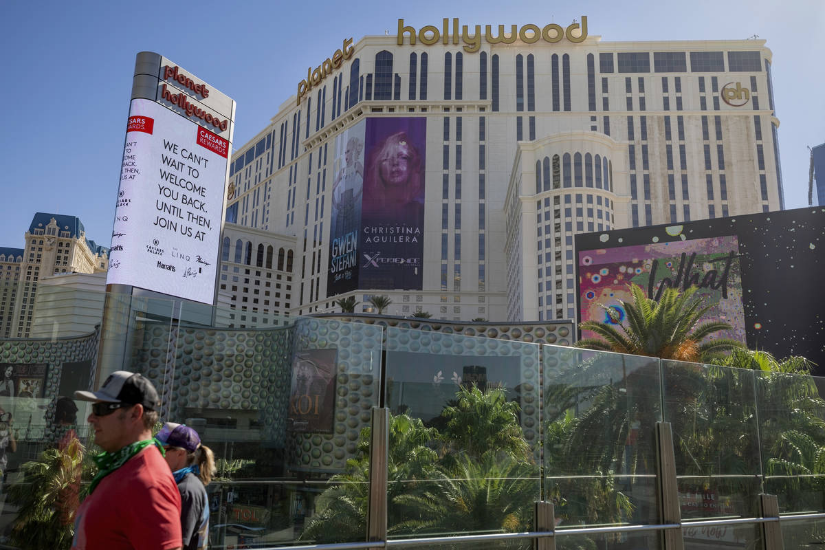 A view of Planet Hollywood along the Las Vegas Strip on Wednesday, Aug. 12, 2020. (Elizabeth Br ...