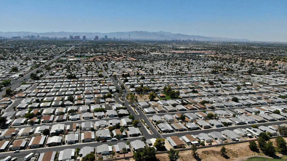 An aerial view of manufactured housing near East Desert Inn Road in east Las Vegas on Wednesday ...