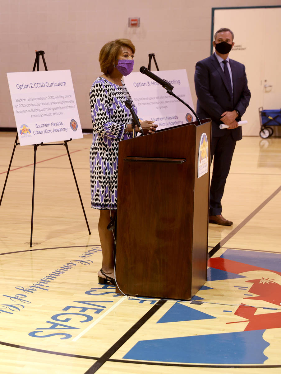 North Las Vegas Councilwoman Pamela Goynes-Brown speaks during a news conference at Silver Mesa ...