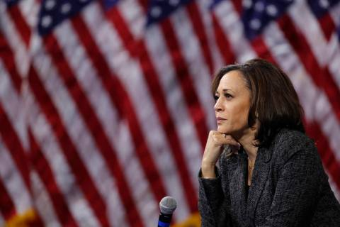 FILE - In this Oct. 2, 2019, file photo, then -Democratic presidential candidate Sen. Kamala Ha ...