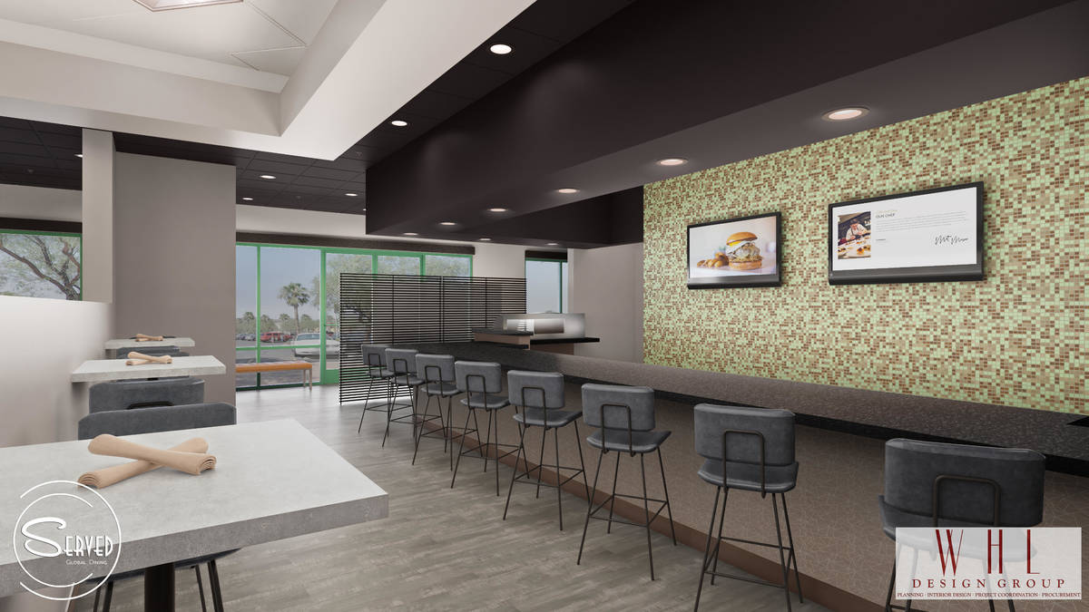 Rendering of bar area at the future Served Global Cuisine. (WHL Design Group)