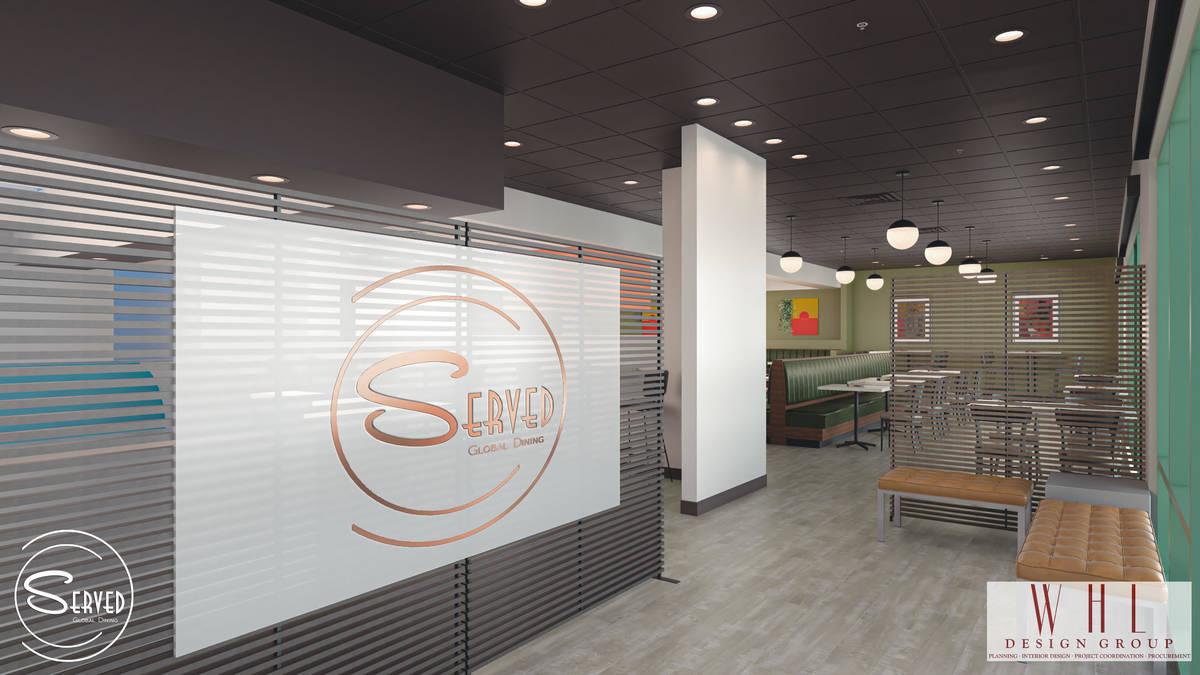 Rendering of entrance at future Served Global Cuisine. (WHL Design Group)