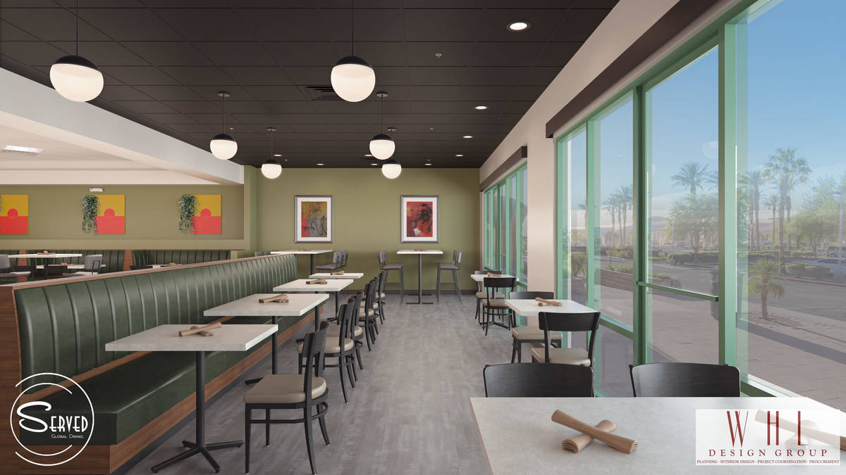 Rendering of dining area at future Served Global Cuisine. (WHL Design Group)