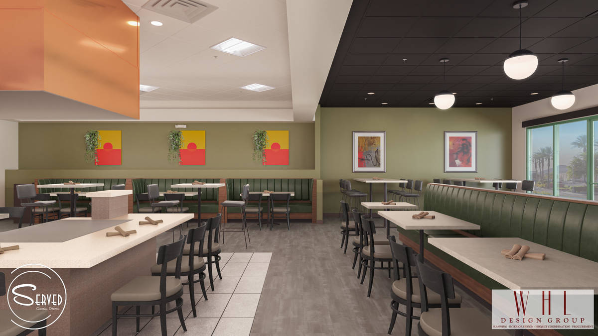 Rendering showing former teppan table at future Served Global Cuisine. (WHL Design Group)