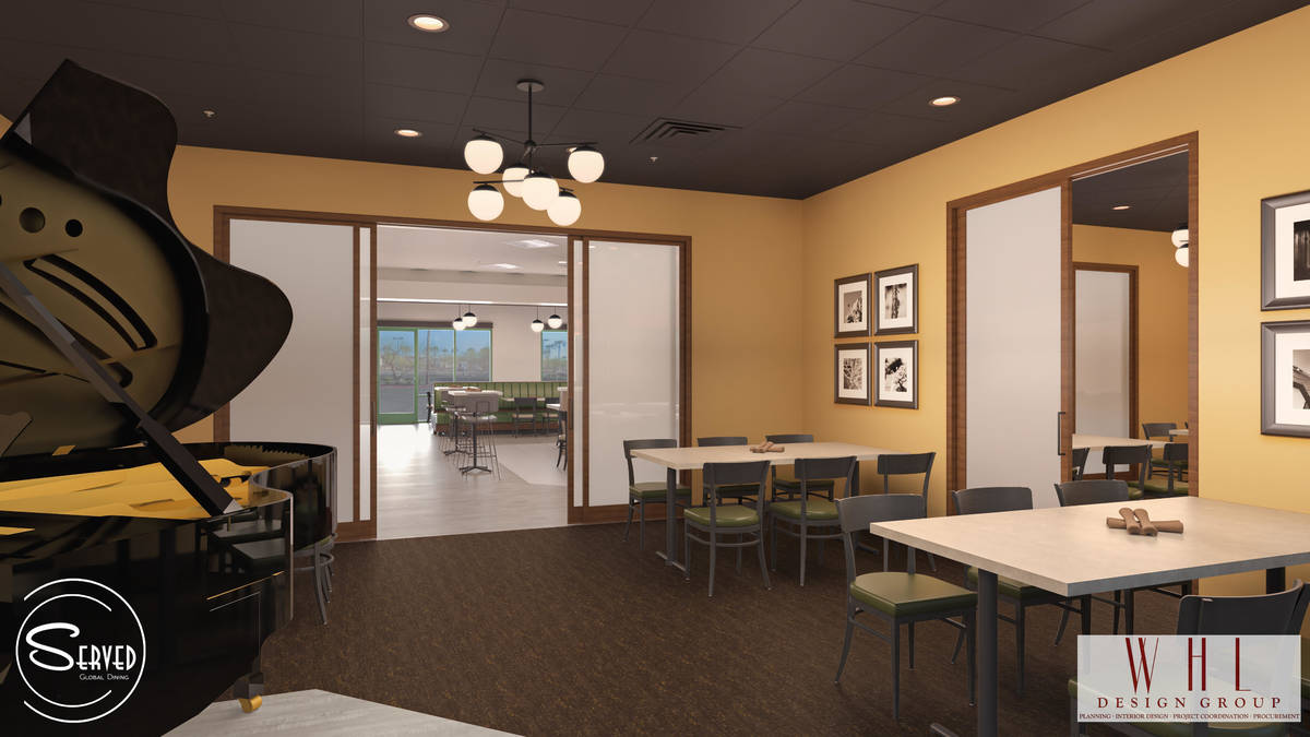 Rendering showing private dining area at future Served Global Cuisine. (WHL Design Group)