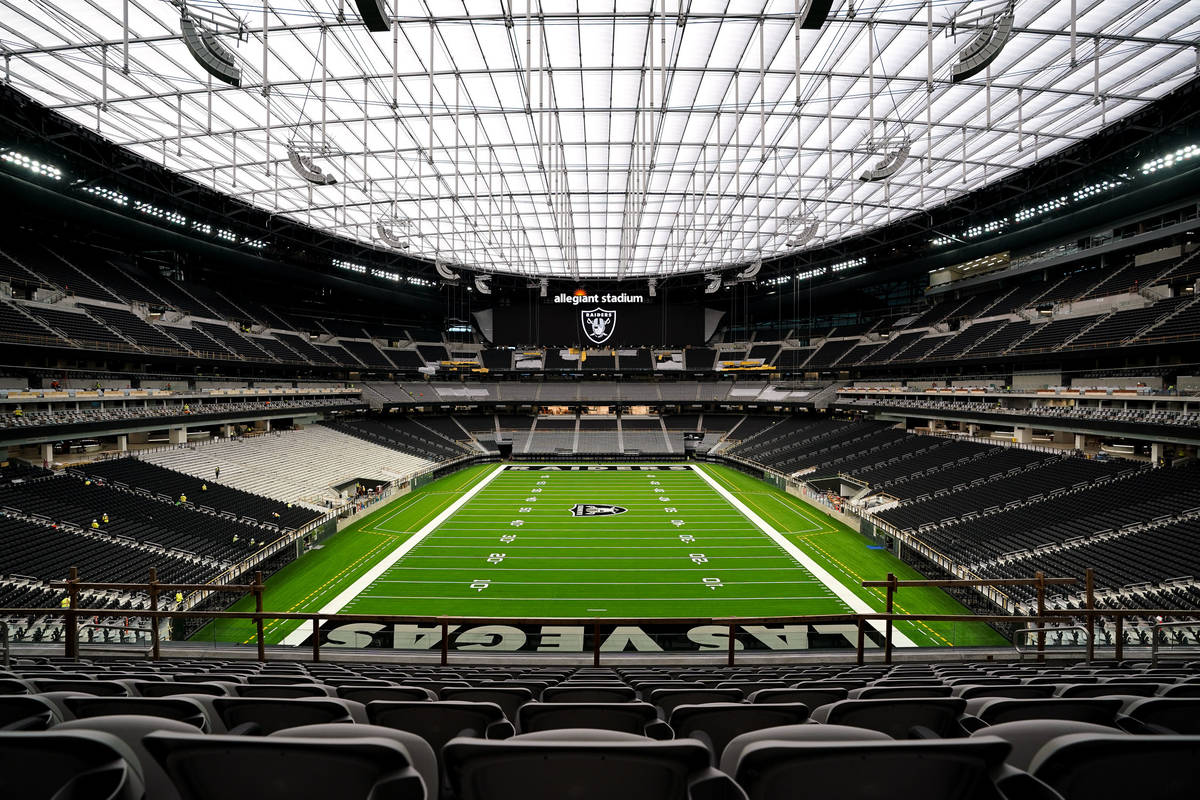 In this July 9, 2020, photo, Allegiant Stadium is set to be fanless during Raiders games during ...