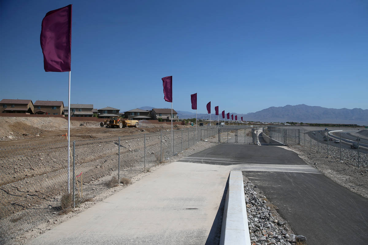 The construction site of the townhouse project Brownstones at Providence by Edward Homes in Las ...
