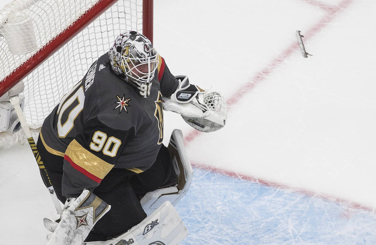 Vegas Golden Knights goalie Robin Lehner loses his skate blade for the second time during the s ...