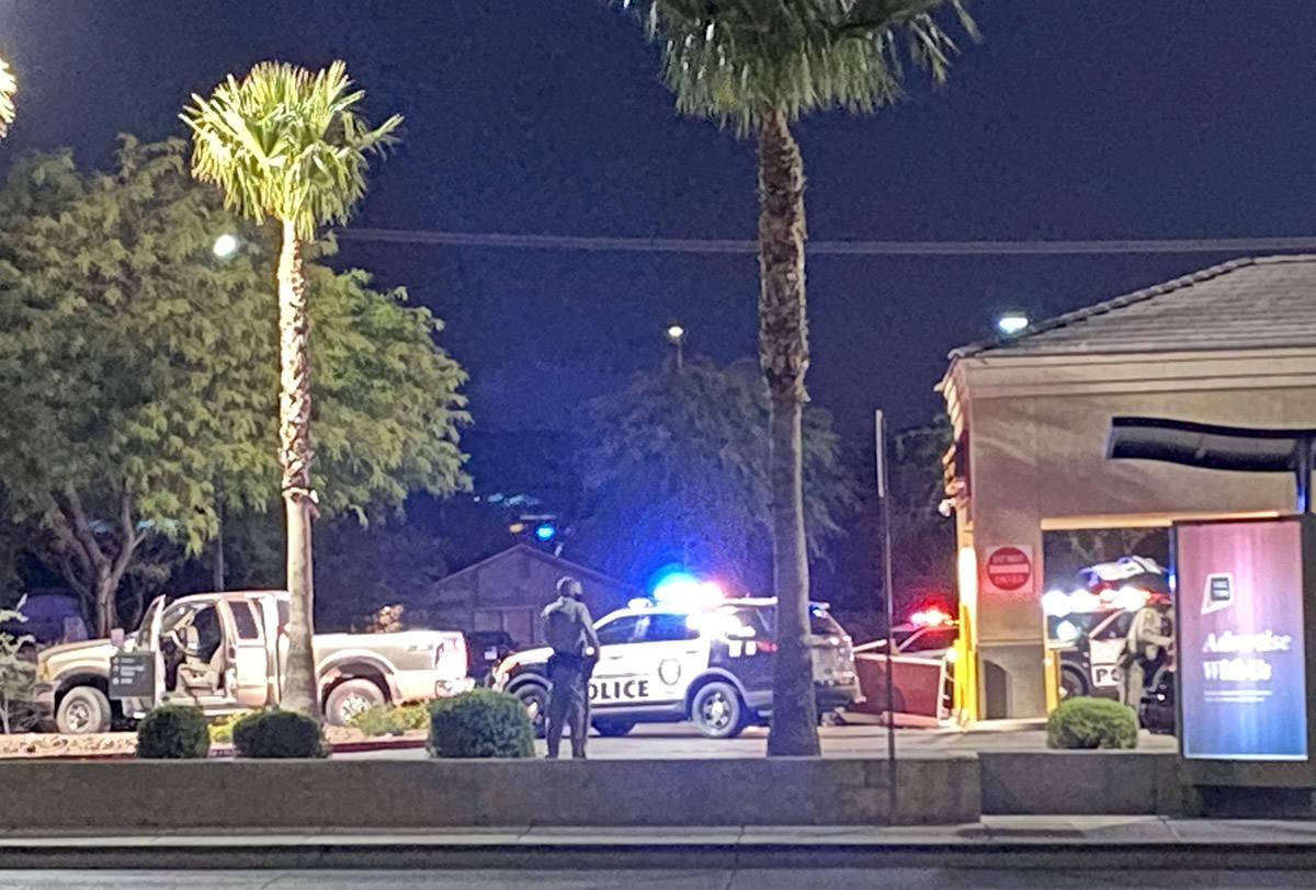 Las Vegas police investigate an apparent failed attempt to drag an ATM off its foundation early ...