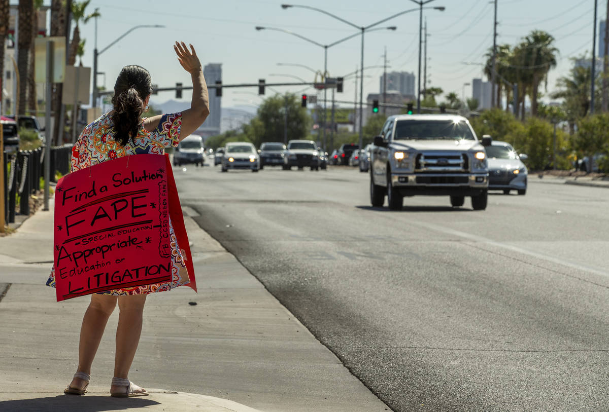 Esther Baker as a parent and advocate stands outside of the Clark County School District Admini ...