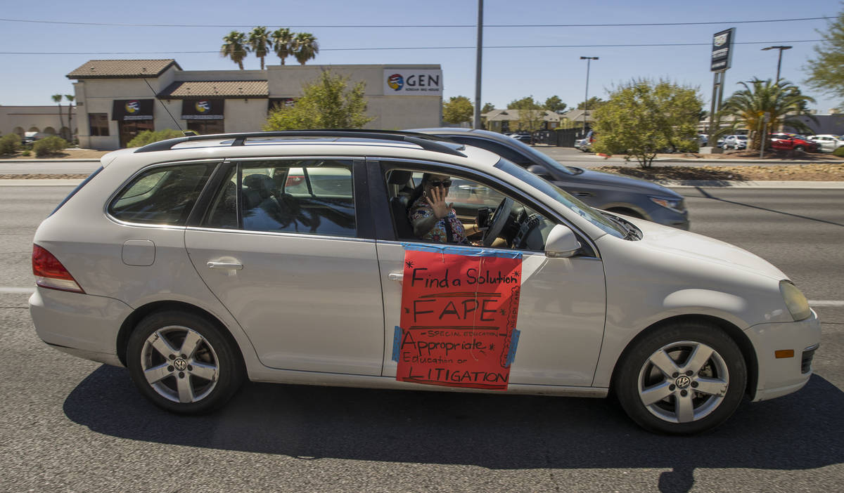 Esther Baker as a parent and advocate drives by the Clark County School District Administration ...