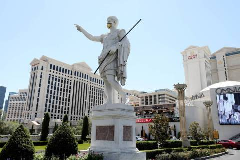 This Aug. 6, 2020, file photo shows Caesars Palace hotel and casino on the Las Vegas Strip. (E ...